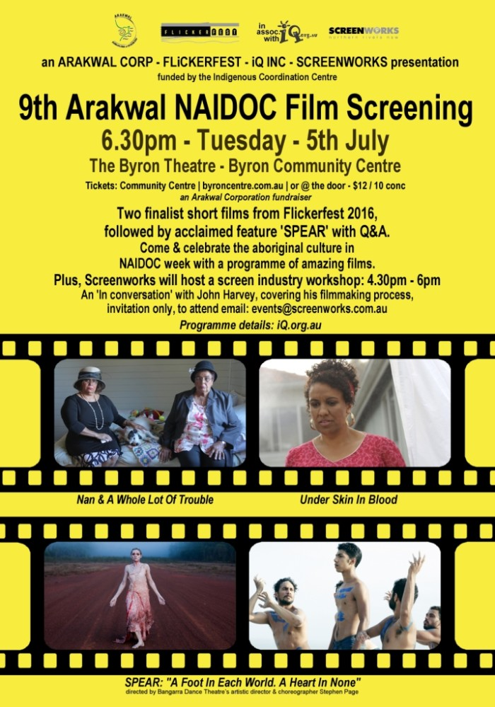 Arakwal NAIDOC Week Film Screening poster 2400w yellow websize